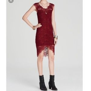 Intimately free people burgundy lace bodycon dress